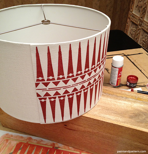 Stenciled Tribal Lamp Shade