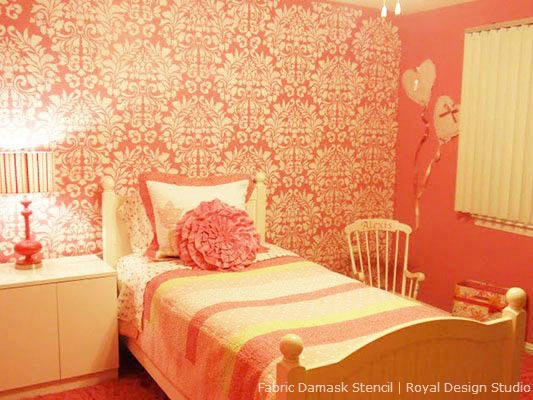 Fabric Damask wall stencil from Royal Design Studio in a pink girls room