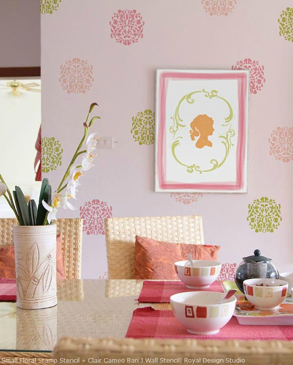 Floral and silhouette stencils from Royal Design Studio