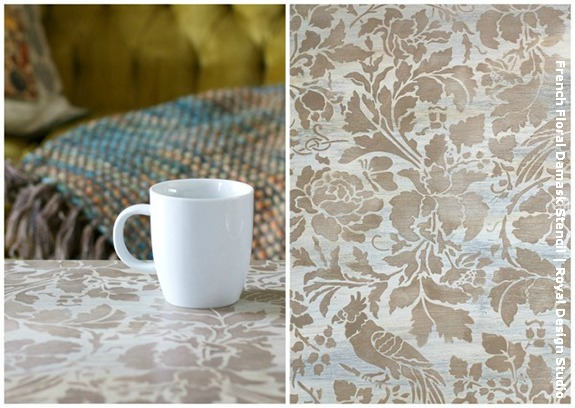 Stenciled coffee table with the French Floral Damask stencil from Royal Design Studio