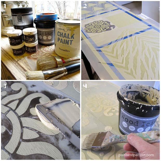 Kuba Cloth Panel. A DIY stencil project from Paint + Pattern