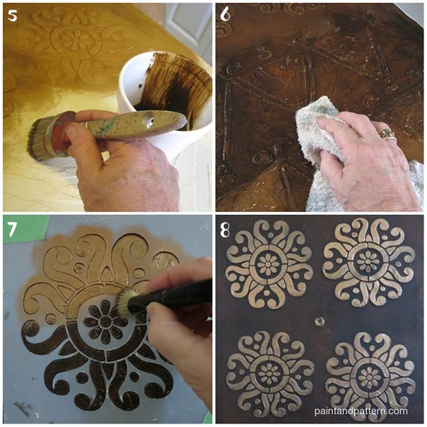 Kuba Cloth Panel. A DIY stencil tutorial on Paint + Pattern with African Stencils from Royal Design Studio