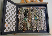 Upcycled Jewelry Display: Moroccan Stencils Adorn an Old Message Center