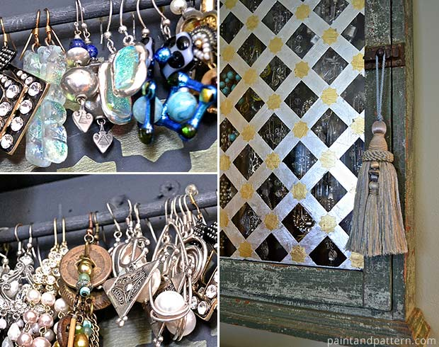 Creating an upcycled jewelry display cabinet with Moroccan stencils and gold leaf