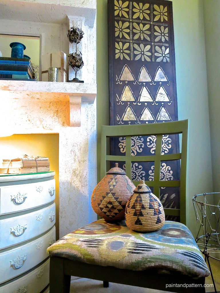 DIY Kuba cloth panel project with African stencils from Royal Design Studio