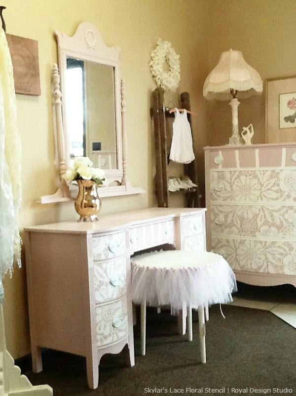 Lace stencil on furniture with Chalk Paint. Skylar's Lace stencil from Royal Design Studio.