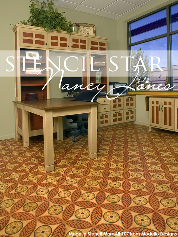 Stenciled Floor of cork tiles stenciled with Modello® Designs Decorative Masking Stencils