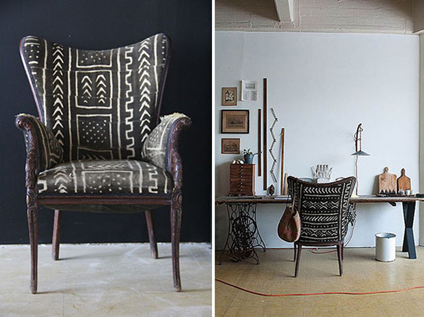 Paint and Pattern Pinerest Board: Africa Mud cloth upholstered chair