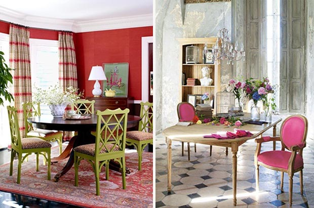 Pink and Red Room Decor.  Decorated Dining Rooms Roundup on Paint + Pattern