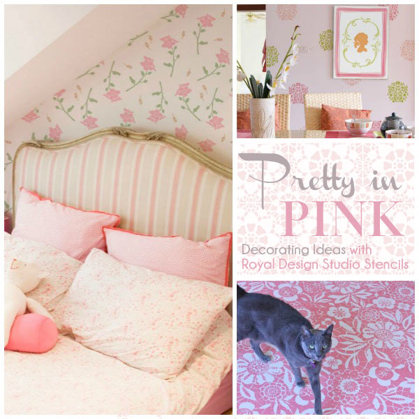 Stencil ideas for decorating with stencils and the color pink from Royal Design Studio