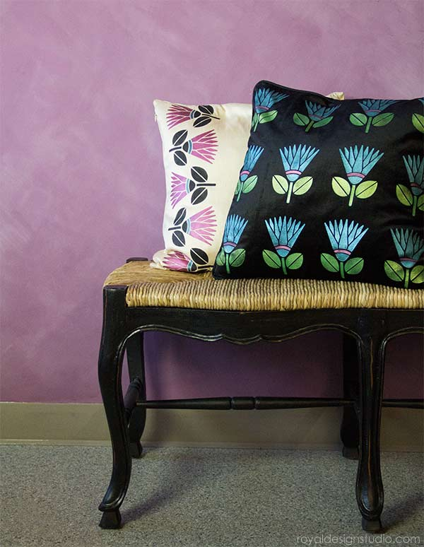 How to stencil pillows with the Protea Flower stencil and Stencil Creme paints from Royal Design Studio