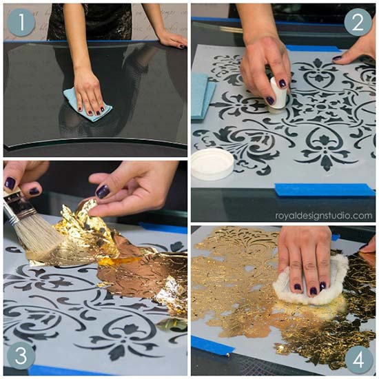 How to use Royal Stencil Size for Reverse Stenciling and Gilding on Glass