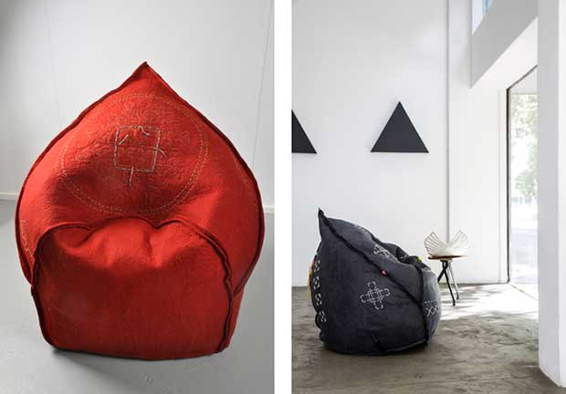 Lalibella Red Chair & Pouf designed by Southern Guild Artist Ronel Lalibella