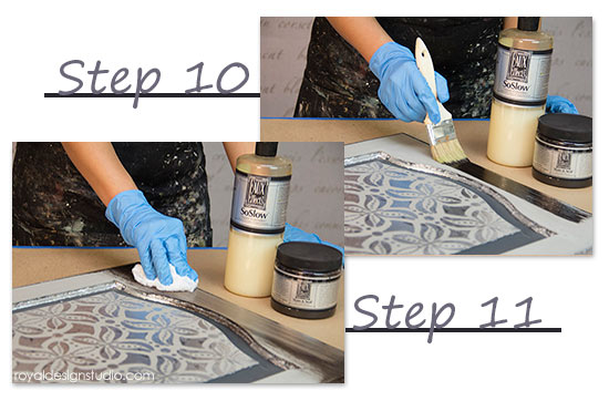How to use Royal Stencil Size from Royal Design Studio with silver leaf and a stenciling on a cabinet door