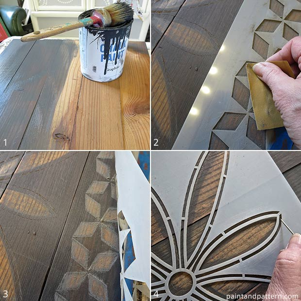 How to use African stencil patterns to create rustic stenciled frames from Paint + Pattern