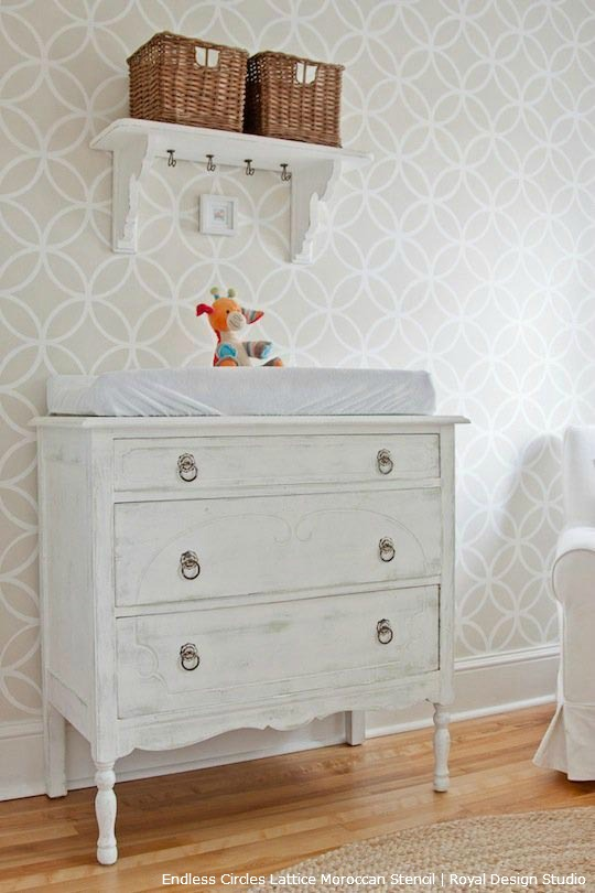 Ideas for decorating nurseries with stencil patterns from Royal Design Studio