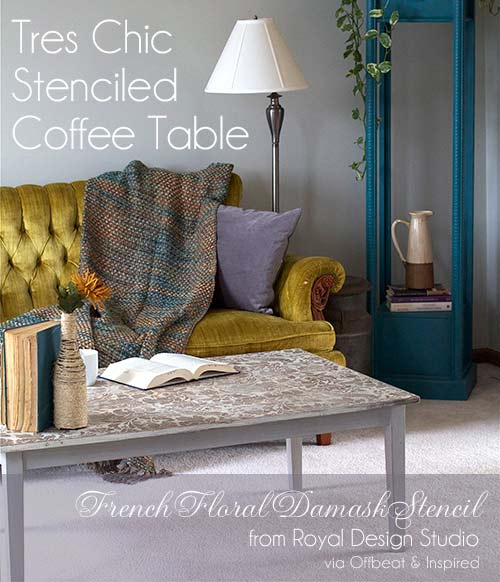 Stenciled-Table-TopStenciled coffee table with the French Floral Damask stencil from Royal Design Studio