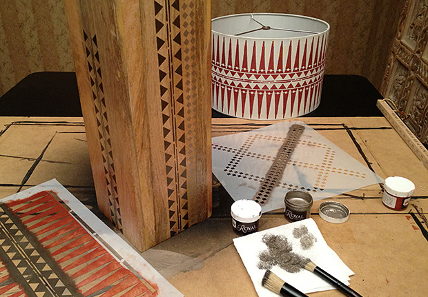 Stenciled Tribal Lamp Shade A Diy Stencil Project With A
