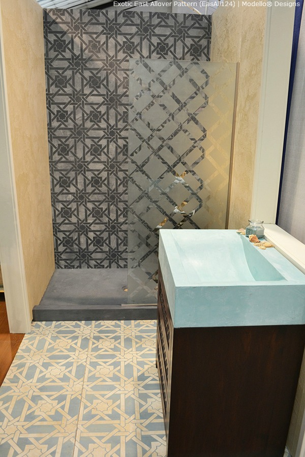 Stenciled walls and flooring with modello designs stencils paint