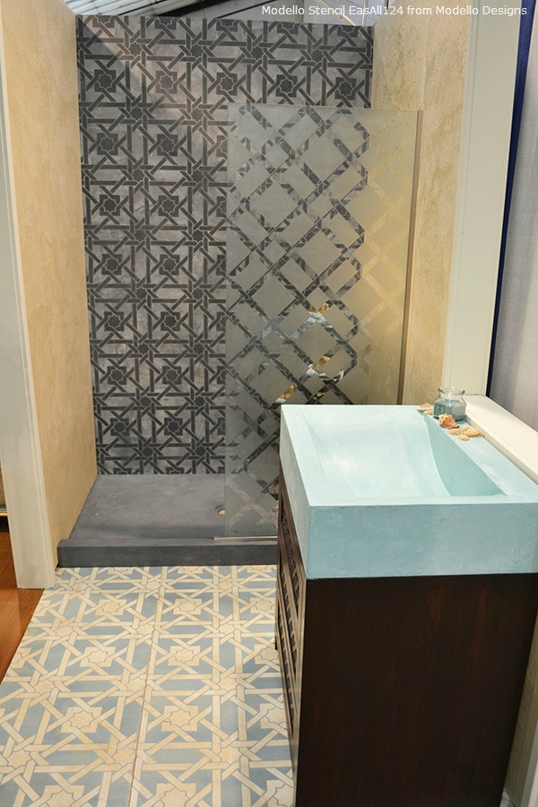 Stenciled floor and stenciled shower wall using Modello® Designs decorative masking stencils