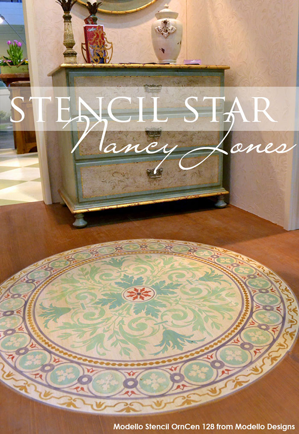 Stenciled floor. Wood stenciled with medallion stencil pattern from Modello® Designsoyal Design Studio