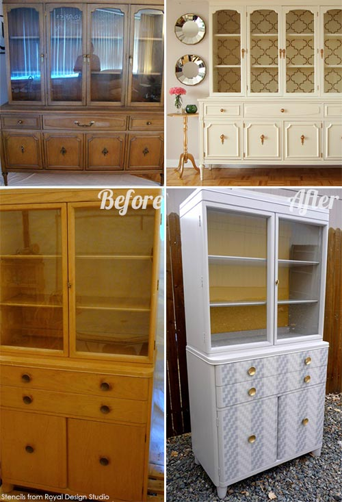 Stencil ideas for stenciling on bookcases on Paint + Pattern