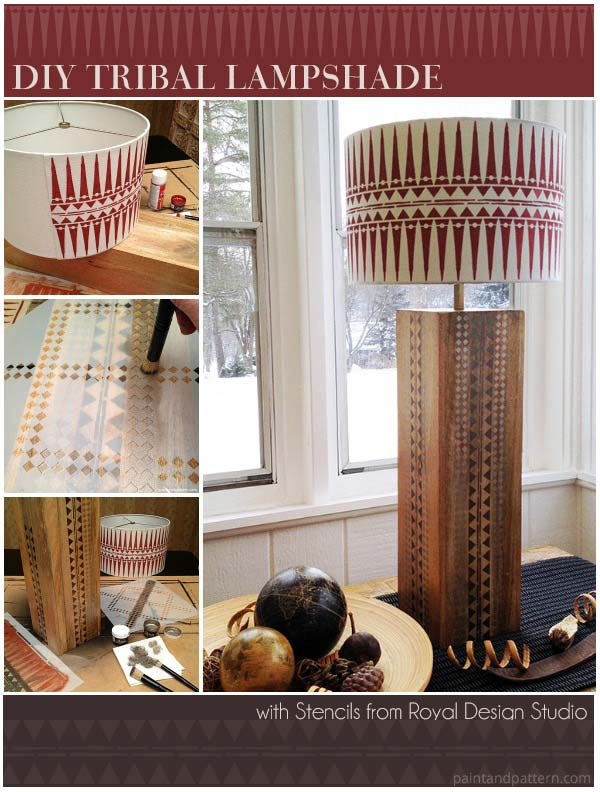 How to stencil a tribal inspired lamp shade and base. DIY project