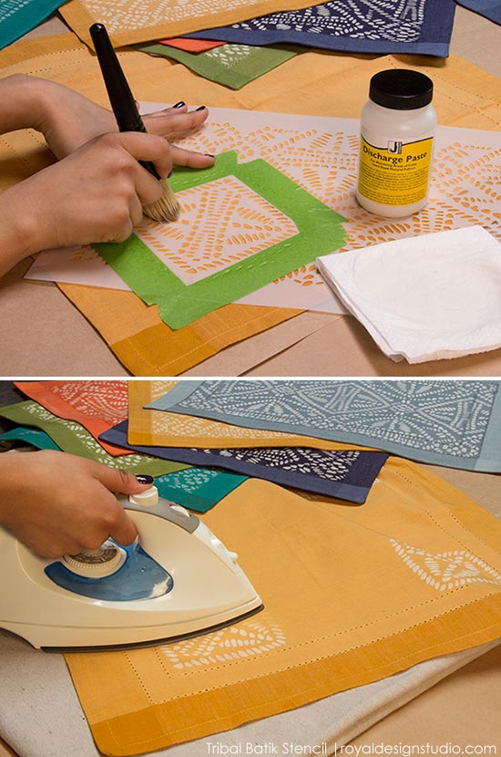 How to stencil tribal placemats with Discharge Paste and stencils from Royal Design Studio