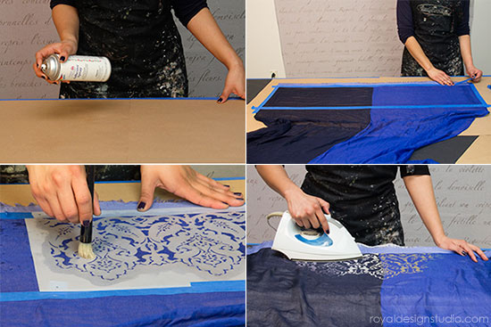 Stencil tips for stenciling with Discharge Paste and stencils from Royal Design Studio