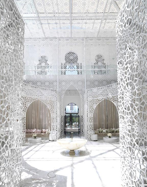 Moroccan trellis pattern at the spa. The Royal Mansour in Marrakech on Paint and Pattern