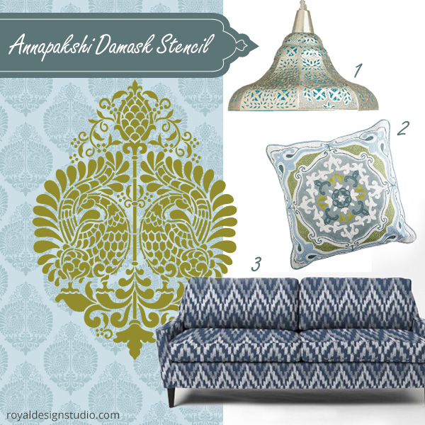 Annapakshi-Damask-indian-inspired-stencils-diy-home-decor