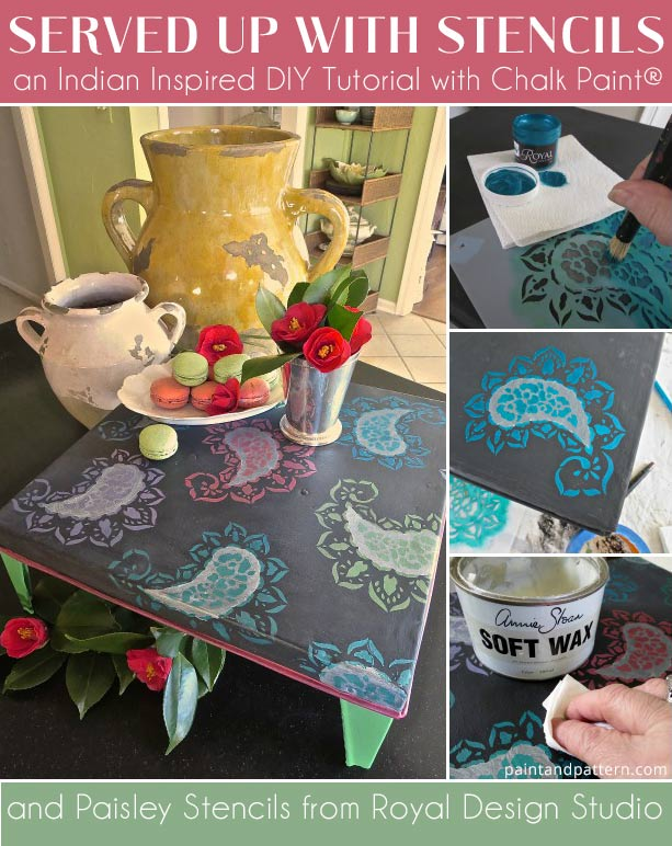 How to stencil Indian Paisleys on Chalk Paint with Royal Design Studio Stencils