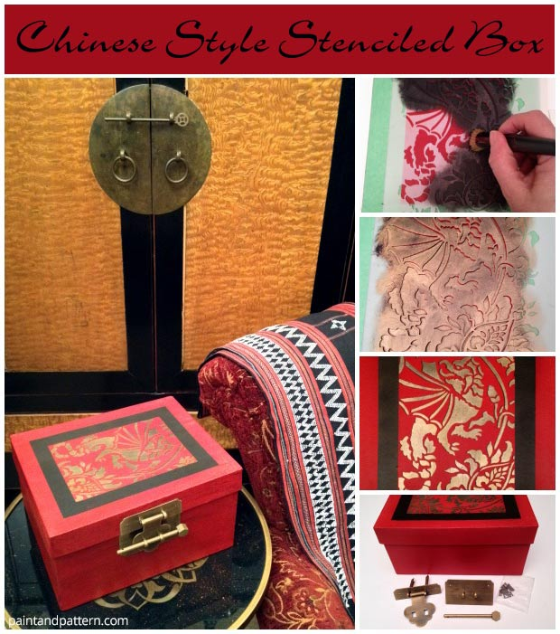 Chinese Style Stenciled Box A Diy Shanghai Souvenir Paint Pattern