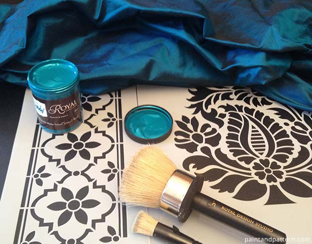 Stencil supplies for DIY India silk stencils project. Stenciling on silk fabric
