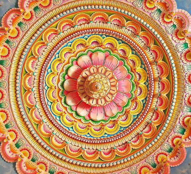 Colored inverted ceiling form an Indian Jain Temple