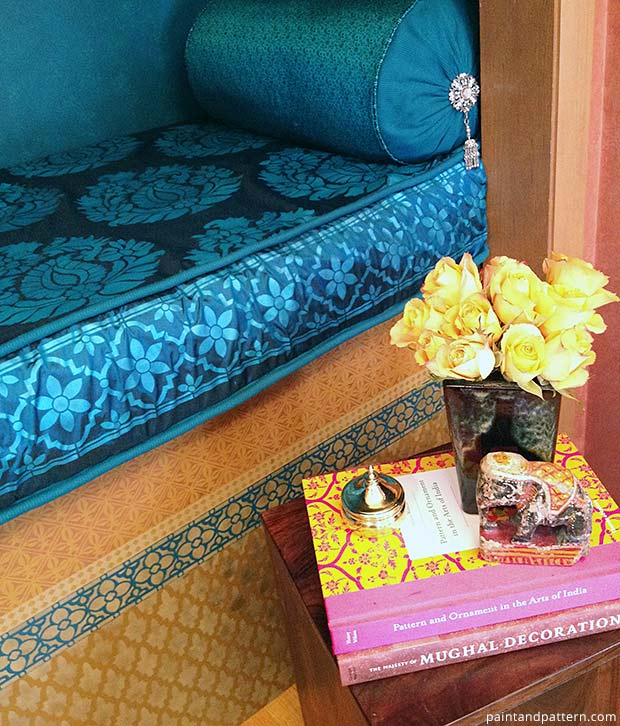 India stencils on silk bench cushion. How to stencil on silk via Paint + Pattern