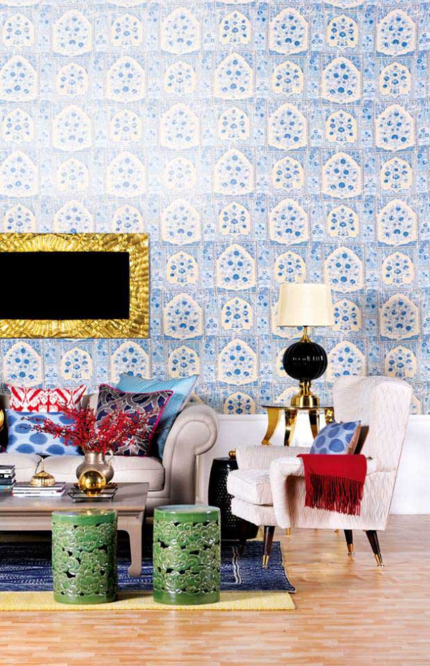 Beautiful wall pattern in Indigo and gold from Architectural Digest India Edition
