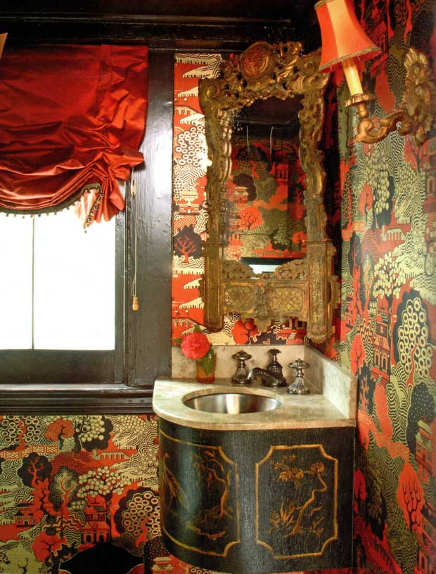 Bathroom Interiors with an Oriental Flair via Paint and Pattern