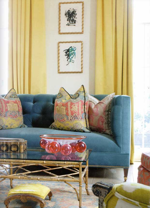 Living room interiors with an Oriental Flair via Paint and Pattern