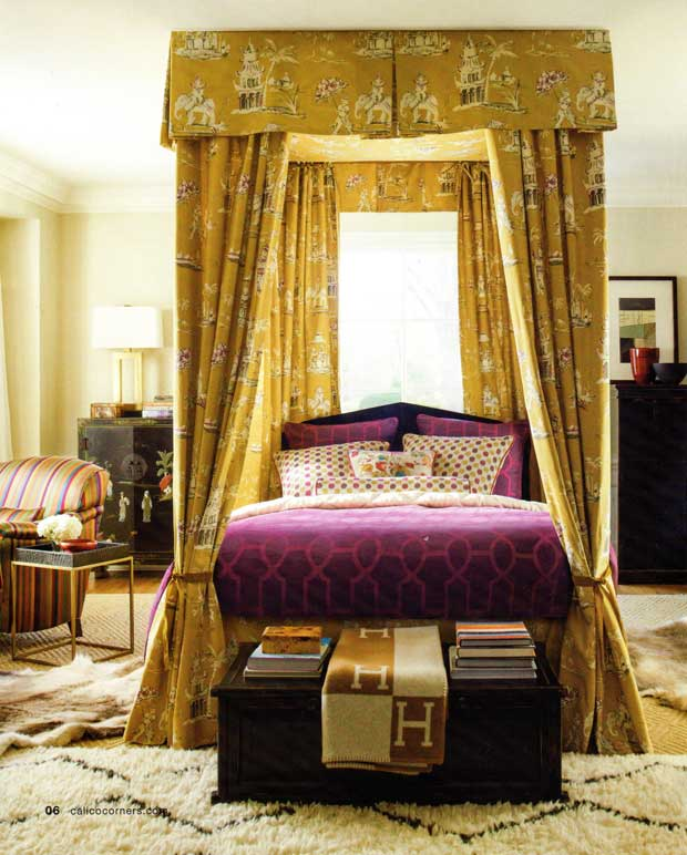 Bedroom interiors with an Oriental Flair via Paint and Pattern