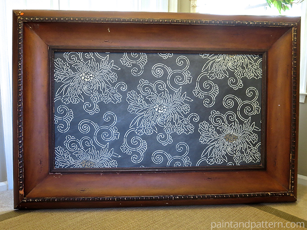 Stenciled wall art project with Japanese Chrysanthemum stencil from Royal Design Studio