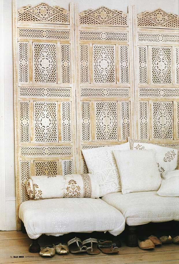 India Inspired White Interiros from Elle-Decor via Paint+Pattern