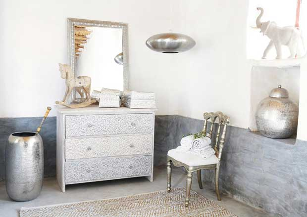 India inspired monochromatic white interiors paint pattern - Magasin style maison du monde ...