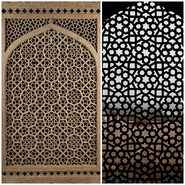 Intricate Jali Pattern of Mughal Architecture via Paint and Pattern