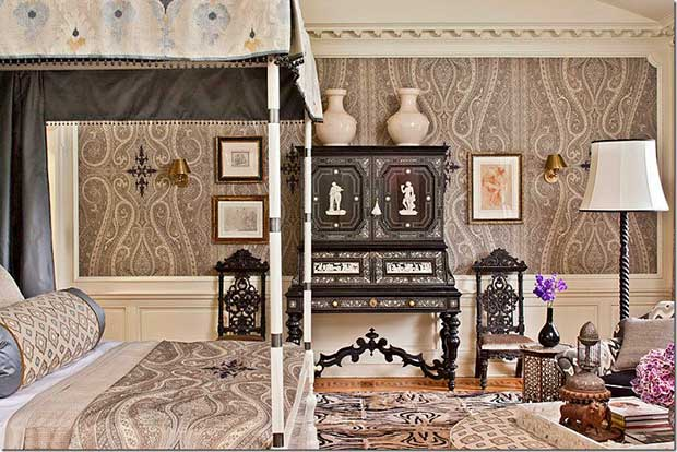 Interiors by Martyn Lawrence Bullard using paisley patterns