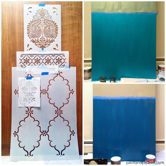 Mapping the stencils for Sari inspired DIY stenciled door via Paint+Pattern