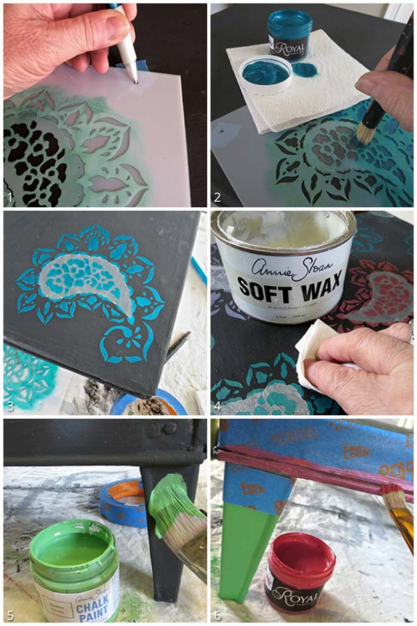 Stenciling an Indian Paisley Pattern with Chalk Paint and Royal Design Studio