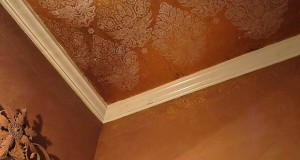 Brightening up a Bathroom with Ceiling Stenciling