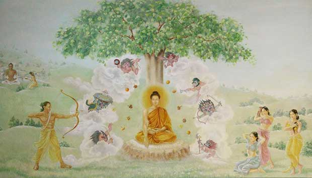 Mural Depicting Buddha's First Sermon under the Bodhi Tree