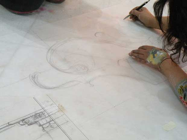Concept Drawing at the Sacred Murals Project, Sarnath, India